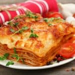 lasagna portion on a plate