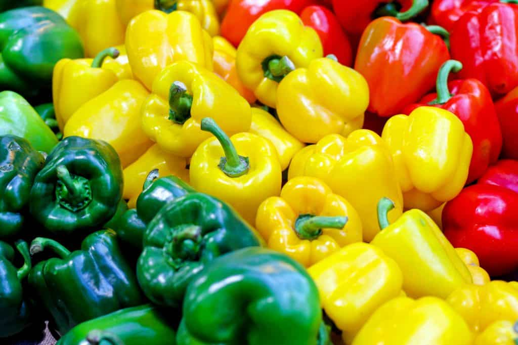 Bell peppers in three colors