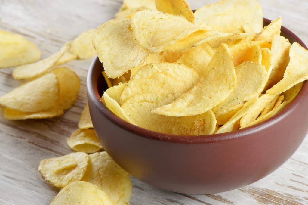 potato chips in a bowl as a food option for cats
